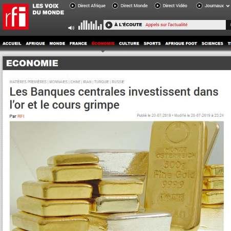 RFI: Les Banques centrales investissent dans l'or et le cours grimpe